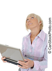 Blonde with a computer - Blonde woman with notebook Isolated...