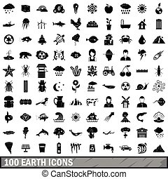 100 earth icons set, simple style