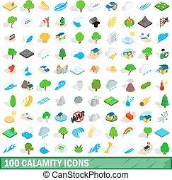100 calamity icons set, isometric 3d style - 100 calamity...