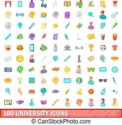 100 university icons set, cartoon style