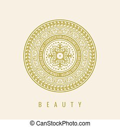 Round calligraphic emblem. Vector floral symbol for cafe -...