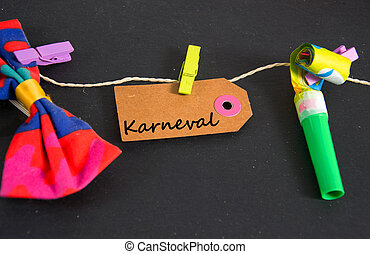 Karneval - german for carnival - Karneval wirtten on a paper...