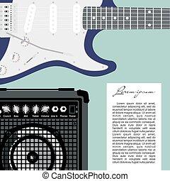 Guitar and speaker.