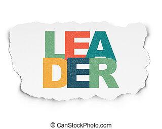Finance concept: Leader on Torn Paper background