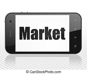 Advertising concept: Smartphone with Market on display