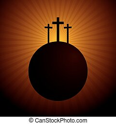 World silhouette with the three crosses above symbolizing...