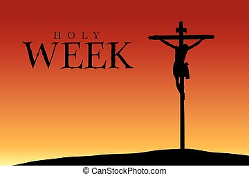 Holy Week - Silhouette of the crucifixion of Christ at...