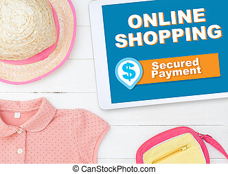 Fashion online shopping on tablet with secure payment