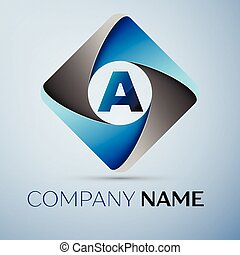 Letter A vector logo symbol in the colorful rhombus. Vector template for your design