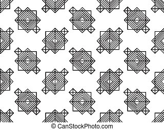 Abstract seamless black and white pattern in art deco style. Vector illustration