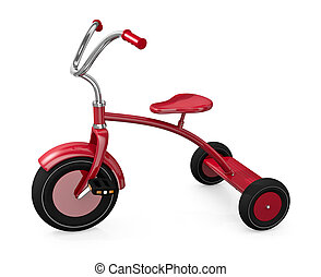 Red tricycle against a white background. 3D render.