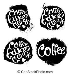 Collection of coffee hand draw logo illustration with lettering