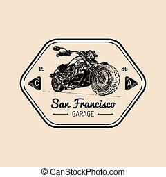 Vector motorcycle advertising poster. Sketched illustration...
