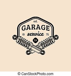 Car repair logo with shock absorber illustration. Vector...