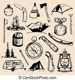 Camping sketched elements. Vector set of vintage hand drawn...