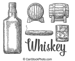 Whiskey glass with ice cubes barrel bottle cigar.