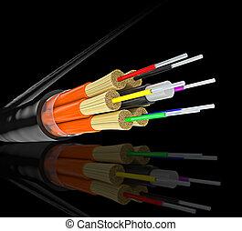 fiber optics background - fiber optics cable and black...