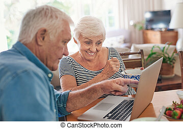 Smiling seniors using a laptop together over breakfast at...