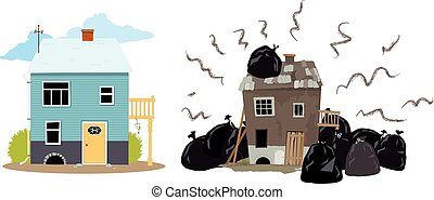 Bad neighbors - Smelly house buried under garbage bags...