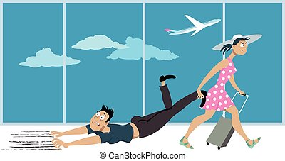 Fear of flying - Woman dragging a man who's affected by a...