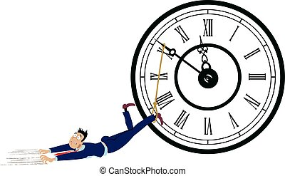 Procrastinator - Man is dragged by his feet tide to a clock...
