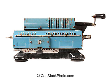 calculating machine - Old blue calculating machine isolated...