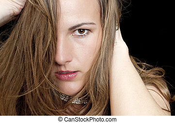 Portrait of a Moody Woman - Portrait of a Moody, Angry or...