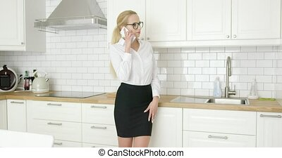 Woman in formal clothing talking phone - Beautiful confident...