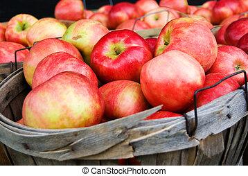 cesta, manzanas