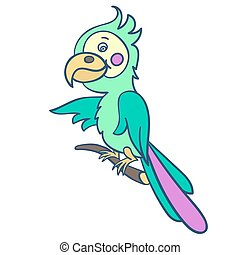 parrot on a branch-01 - A bright green parrot on a...