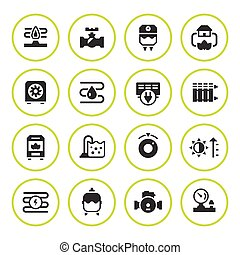 Set round icons of heating isolated on white. Vector...