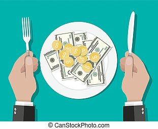 Business lunch concept. - Hands holding knife and fork and...