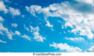 Clouds running over sky - Beautiful puffy white clouds...
