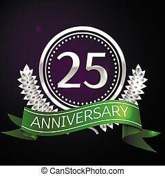Twenty five years anniversary celebration with silver ring...