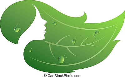 Beauty salon bio. Profile of the girl and a green leaf.