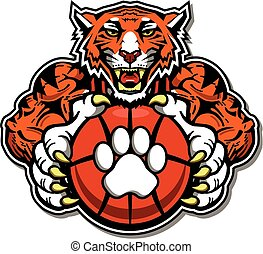 tiger basketball team design with mascot for school, college...
