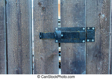 Close up metal door hinge - Close-up metal door hinge on...