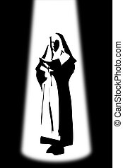 Nun in silhouette - Woman of faith (nun)