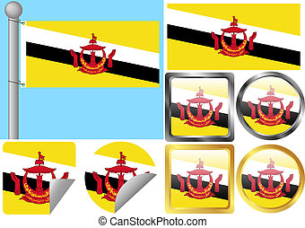 Flag Set Brunei
