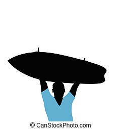 man silhouette with surfboard in hand illustration