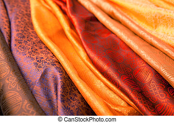 Indian scarves - Silk scarves from India in a marketplace