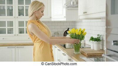 Romantic female composing bouquet - Wonderful young woman in...