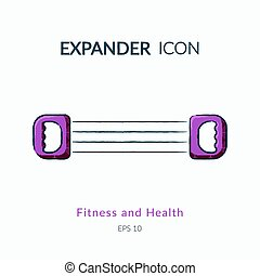 Expander icon isolated on white. - Sports equipment vector...