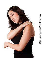 Woman with shoulder neck pain - Beautiful woman holding her...