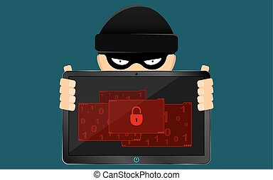 A hacker and a rascal are holding a broken tablet in their hands. A serious problem, the loss of data. Flat style. Many open folders