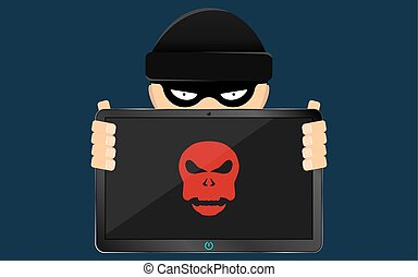 Cracker and hacker is holding in his hand a hacked modern electronic tablet with a red skull on the screen