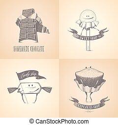 Homemade chocolate, bakery or candy shop vector logo set....