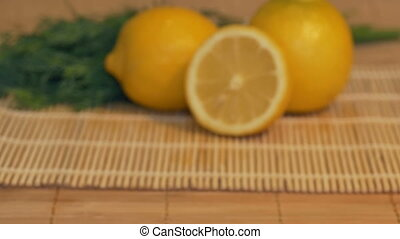 Fresh Lemons onn the Table - Sliding to fresh lemons in the...