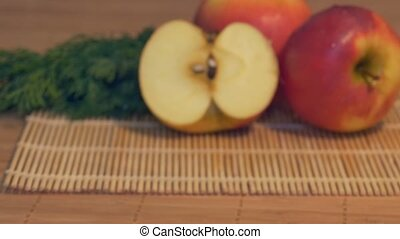 Fresh Apples on Table - Sliding to fresh apples in the...
