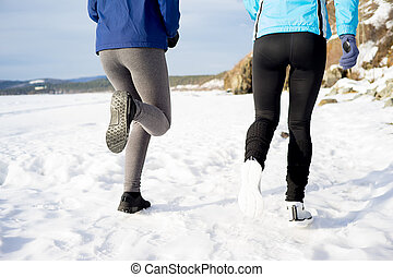 Women keeping fit - Two women are trying to keep fit